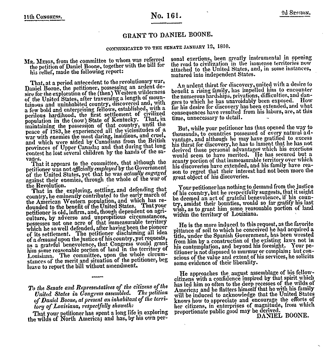 Scanned image of the petition of Daniel Boone